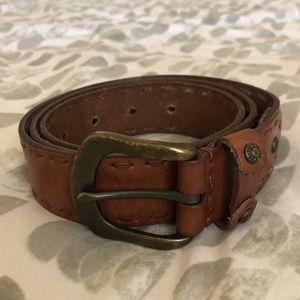 Fossil Brown Woven Leather Belt Size Large